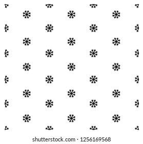Black snowflakes on white background. Black and white seamless pattern