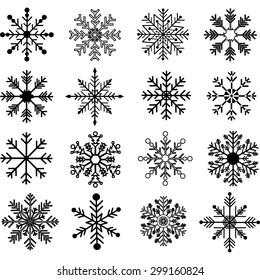 Black Snowflakes Silhouette set