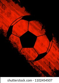 Black soccer ball vector, football, sports, game, red background