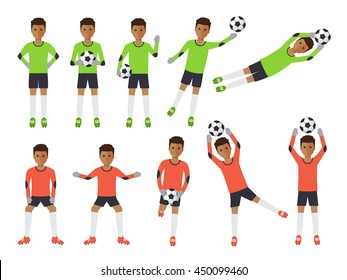 Black soccer sport athletes, African football goalkeeper playing, kicking, training and practicing football. Flat design people characters.