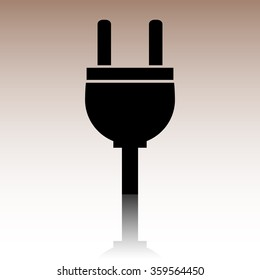 Black Socket icon. Vector illustration with reflection