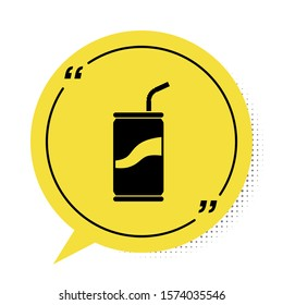 Black Soda can with drinking straw icon isolated on white background. Yellow speech bubble symbol. Vector Illustration