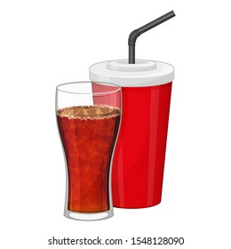 Black soda in plastic cup and transparent glass on white background. Fast food drink symbol. Refreshing lemonade. Cartoon vector illustration. Isolated on white. Object for packaging, menu