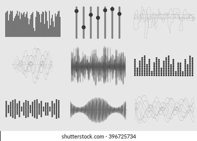 Black sound music waves on white background. Audio technology, visual musical pulse. Vector illustration.