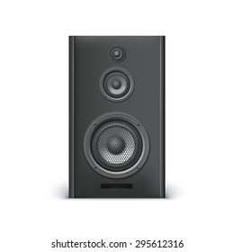 Black sound speaker on white background. Vector illustration for your design.