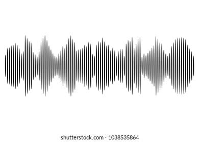 Black sound wave. Vector audio technology illustration.