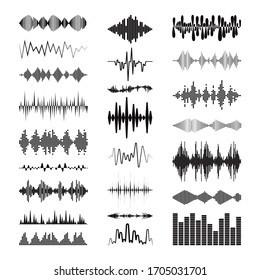 Black sound waves logo collection with audio symbols on white background. Modern music equalizer elements set. Digital flat isolated illustration. Vector waveform technology