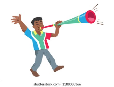 A black south african man, soccer support, blowing on a noisy vuvuzela trumpet