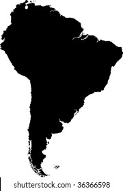 Black South America map without country borders