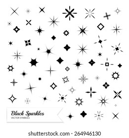 Black sparkles symbols. Vector set