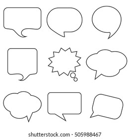 Black Speech Bubble Skech Set Isolated on White Background. Vector Illustration