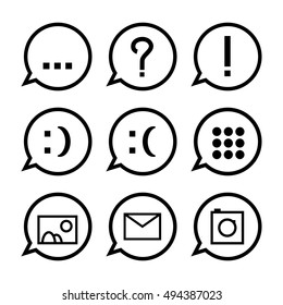 Black speech bubbles with icons. Web messenger conversation icon set. Vector icons for social media chat. Message icon with question mark, explanation mark, smile, email, picture, photo