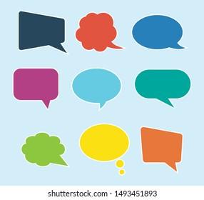 Black speech bubbles. Thought text bubble symbols, origami bubbly speech shapes. Comic dialog clouds vector set
