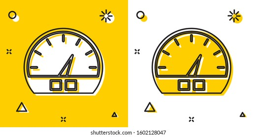 Black Speedometer icon isolated on yellow and white background. Random dynamic shapes. Vector Illustration