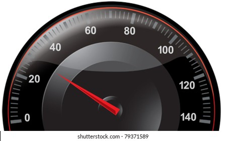 Black speedometer with red pointer, graduated 0 to 140
