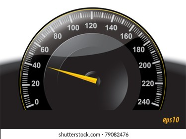 Black speedometer with yellow pointer, graduated 0 to 240