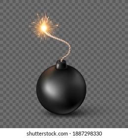 Black Sphere Bomb. Burning fuse black bomb in realistic style. Vector illustration