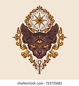 Black sphinx cat head with mysterious three eyes look, egyptian ankh crux and sirius star drawn vector illustration. Ancient sacred occult symbol for tattoo, esoteric and spiritualistic practices ad