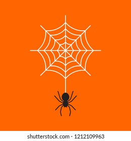 Black spider with cobweb on orange colored background.