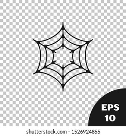 Black Spider web icon isolated on transparent background. Cobweb sign. Happy Halloween party.  Vector Illustration