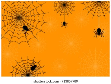 Black spider and spider web on thinly spider web and orange background vector.