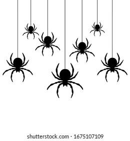 Arañas negras colgando de una tela. Uso para impresión, carteles, pantalones T, dibujo textil, patrón de impresión. Sigue otros patrones de arañas en mi colección.