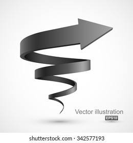Black spiral arrow 3D.