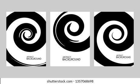 Black spiral brush stroke on white background. Vector illustration. Grunge stain