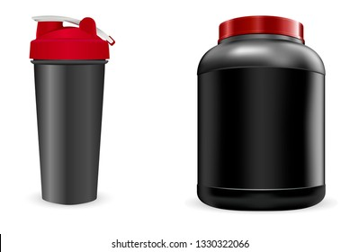 Black Sport Bottle, Shaker. Whey Portein Container 3d Pack. Plastic Can for Workout Gainer. Realistic Gym Blender Jar. Energy Box Blank. Bodybuilding Supplement Canister with Cap.