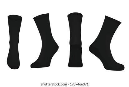 Black sport socks. vector illustration