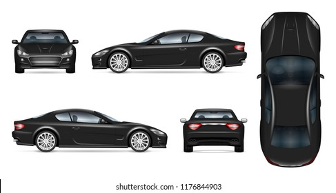 Black sports car vector mockup on white background for vehicle branding, corporate identity. View from side, front, back, and top. All elements in the groups on separate layers for easy editing