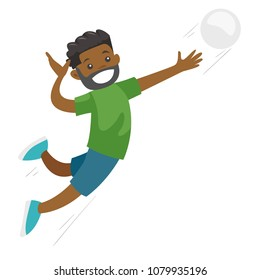 Black sportsman playing volleyball. Male professional volleyball player hitting the ball. Concept of sport and physical activity. Vector cartoon illustration isolated on white background.