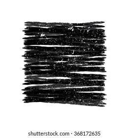 Black square. It is carelessly shaded with traces of scratches and attrictions.