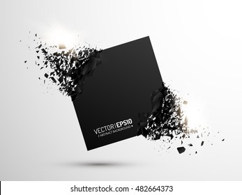 Black square with debris on white background. Abstract black explosion. Geometric background. Vector illustration