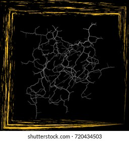 Black Square of Malevich in a wooden frame, vector illustration