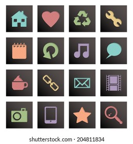 black square media icons isolated on white with transparencies