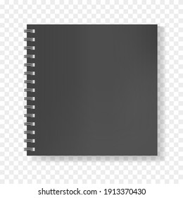 Black square realistic mockup of notebook on spiral binder, copybook blank cover. Clear elegant dark men notepad or sketchbook front page with shadow