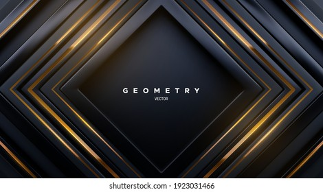 Black square shapes with golden stripes. Abstract geometric background. Vector 3d illustration. Concentric rectangles. Luxury cover design