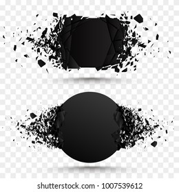 Black square stone with debris isolated. Abstract black explosion. Geometric illustration. Vector square and circle destruction shapes with debris isolated on checkered background.