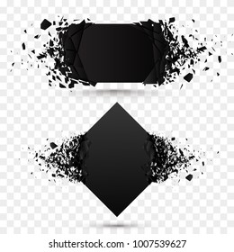 Black square stone with debris isolated. Abstract black explosion. Geometric background. Vector illustration