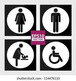 Black Square Toilet Sign with White Circle Background, Man Sign, Women Sign, Baby Changing Sign, Handicap Sign - EPS10 Vector