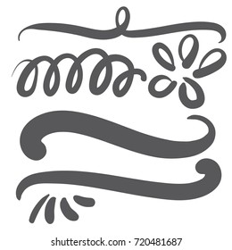 Black squiggle swoosh text font tail for word art