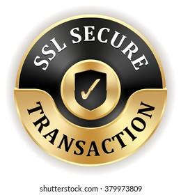 Black ssl secure transaction badge with gold border