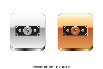 Black Stacks paper money cash icon isolated on white background. Money banknotes stacks. Bill currency. Silver-gold square button. Vector Illustration