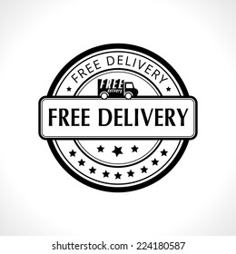 Black stamp with the text free delivery. Fast delivery. Free shipping