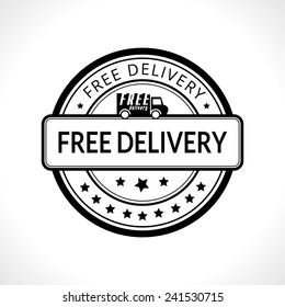 Black stamp with the text free delivery written inside business icon