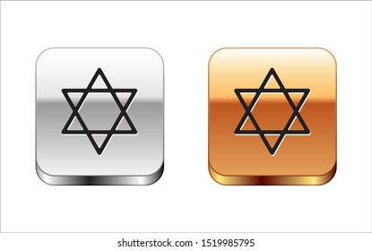 Black Star of David icon isolated on white background. Jewish religion symbol. Symbol of Israel. Silver-gold square button. Vector Illustration