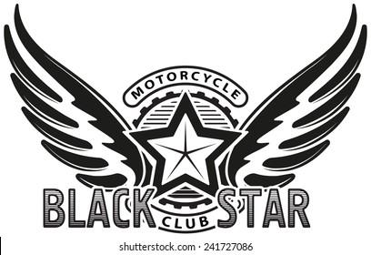 Black star motorcycle club design for emblem or logo