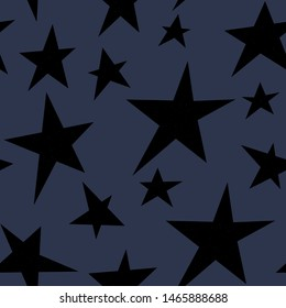 Black star on gray background. Seamless pattern for wallpaper, web sites,wrapping paper,for fashion prints, fabric, design.