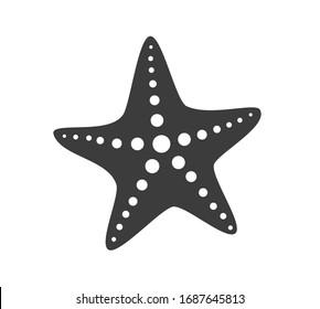 Black starfish icon. Vector illustration.
